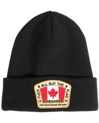 DSquared² - Wool Beanie Hat W/ Logo Patch - Lyst