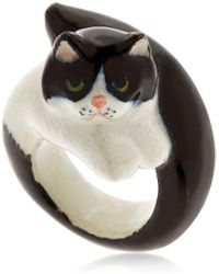 Nach - Black & White Persian Cat Ring - Lyst