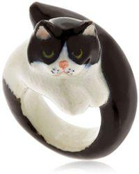 Nach | Black & White Persian Cat Ring | Lyst