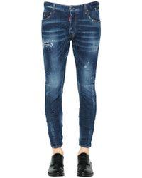 "DSquared² - Jeans ""tidy Biker"" De Denim Desgastados 17cm - Lyst"