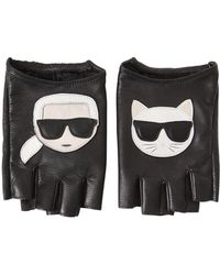 Karl Lagerfeld - K/ikonik Fingerless Leather Gloves - Lyst