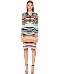Diesel Black Gold - Striped Viscose Rib Knit Dress - Lyst