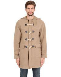 Palm Angels | Hooded Wool Blend Duffle Coat | Lyst
