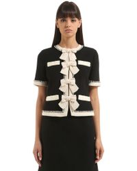 Gucci - Wool Sable Short Jacket W/ Bows - Lyst