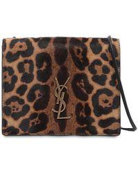 Saint Laurent - Leopard Ponyskin Monogram Shoulder Bag - Lyst