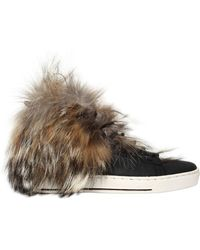 Black Dioniso - 20mm Coyote Fur & Leather Sneakers - Lyst