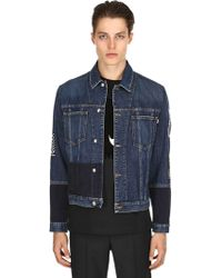 McQ - Patchwork Velvet & Denim Jacket - Lyst