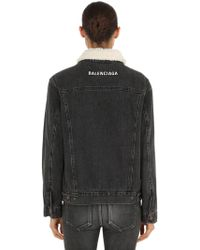 Balenciaga - Faux Shearling & Denim Jacket - Lyst