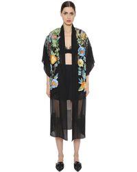 Alberta Ferretti - Embroidered Chiffon & Lace Kimono Jacket - Lyst