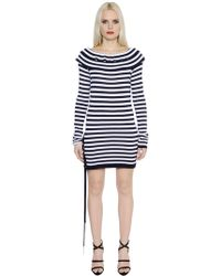 Sonia Rykiel - Striped Fitted Cotton Jersey Dress - Lyst
