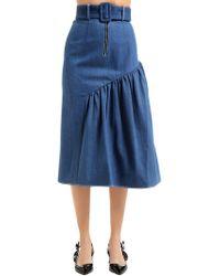 Rejina Pyo - Gathered Side Panel Cotton Denim Skirt - Lyst