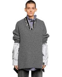 Balenciaga - V Neck Wool Knit Jumper W/ Scarf - Lyst