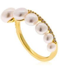 Apm Monaco - Yellow Silver Ring With Pearls - Lyst