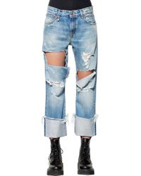 R13 - Destroyed Cutout Cropped Denim Jeans - Lyst
