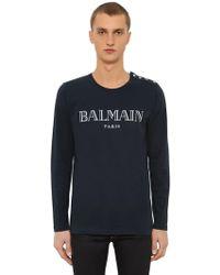 Balmain - Logo Cotton Jersey Long Sleeve T-shirt - Lyst