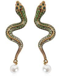 Roberto Cavalli - Crystal Snake Earrings - Lyst