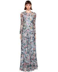 Antonio Marras - Floral Printed Silk Crepe De Chine Gown - Lyst