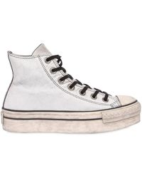 Converse - Chuck Taylor Leather Platform Trainers - Lyst