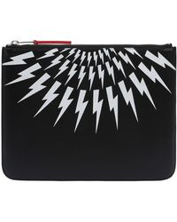 Neil Barrett | Printed Bolts Zip Leather Tablet Holder | Lyst