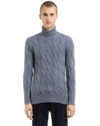 Lardini - Wool Mohair Blend Cable-knit Sweater - Lyst