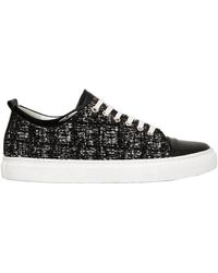 Lanvin - 20mm Tweed & Patent Leather Sneakers - Lyst