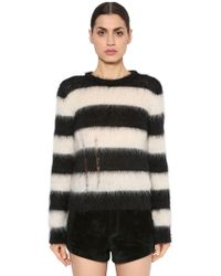 Saint Laurent - Destroyed Brushed Mohair Knit Jumper - Lyst