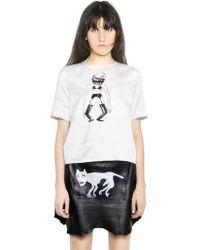 Claire Barrow - Printed Heavy Silk Satin & Linen Top - Lyst