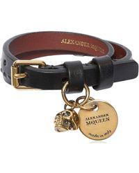 Alexander McQueen - Studded Leather Bracelet W/ Charm - Lyst