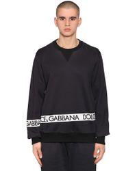 Dolce & Gabbana - Logo Tape Printed Cotton Sweatshirt - Lyst