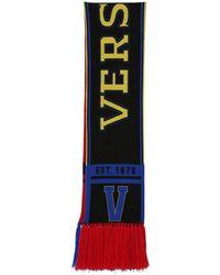 Versace - Logo Intarsia Wool Scarf - Lyst