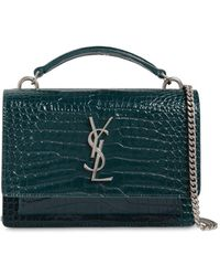 Saint Laurent - Small Sunset Croc Embossed Leather Bag - Lyst
