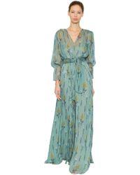 Luisa Beccaria - Vestido De Chifón De Seda Estampado Floral - Lyst