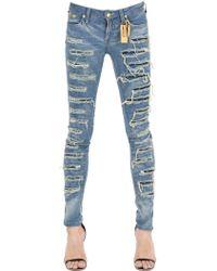 Robin's Jean - Skinny Destroyed Washed Denim Jeans - Lyst