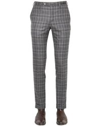 PT01 - 18cm Evo Fit Plaid Brushed Wool Trousers - Lyst