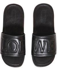 Loewe - Logo Embossed Leather Slide Sandals - Lyst