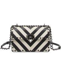 Valentino - Rockstud Striped Leather Shoulder Bag - Lyst