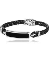 David Yurman | Bar Station Leather Silver Bracelet | Lyst