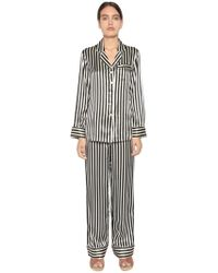 Olivia Von Halle - Striped Print Silk Satin Pyjama Set - Lyst