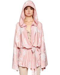 PUMA - Floral Satin Jacquard Hooded Kimono - Lyst