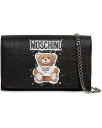 017f6bfc896b Moschino Teddy Bear Tab Leather Shoulder Bag in Black - Lyst