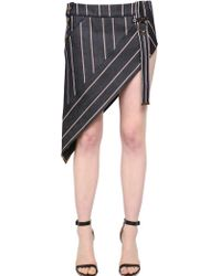 Anthony Vaccarello - Striped Asymmetrical Denim Mini Skirt - Lyst