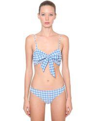 Ganni - Seersucker Bikini Set - Lyst