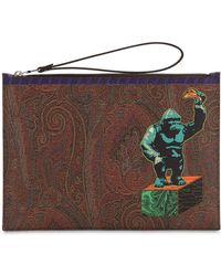 Etro - Pvc Paisley & King Kong Printed Pouch - Lyst