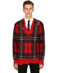 Alexander McQueen - Plaid Mohair & Wool V-neck Jumper - Lyst