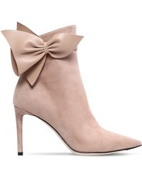Jimmy Choo - 85mm Cassidy Bow Suede Ankle Boots - Lyst
