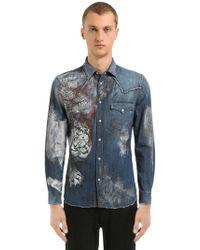 Just Cavalli - Painted Cotton Denim Western Shirt - Lyst