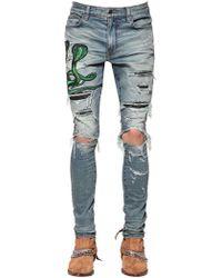 Amiri - Jeans Con Serpiente Y Piel De Serpiente 15cm - Lyst
