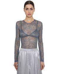 Nina Ricci - Lace Stretch Sheer Bodysuit - Lyst