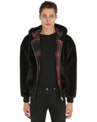 The Kooples - Padded Faux Fur Bomber W/ Plaid Lining - Lyst
