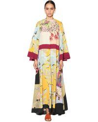 Etro - Long Printed Silk Twill Dress - Lyst